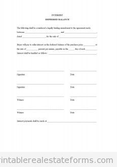 Real Estate Forms on Free Interest Deferred Balance Form   Printable Real Estate Forms
