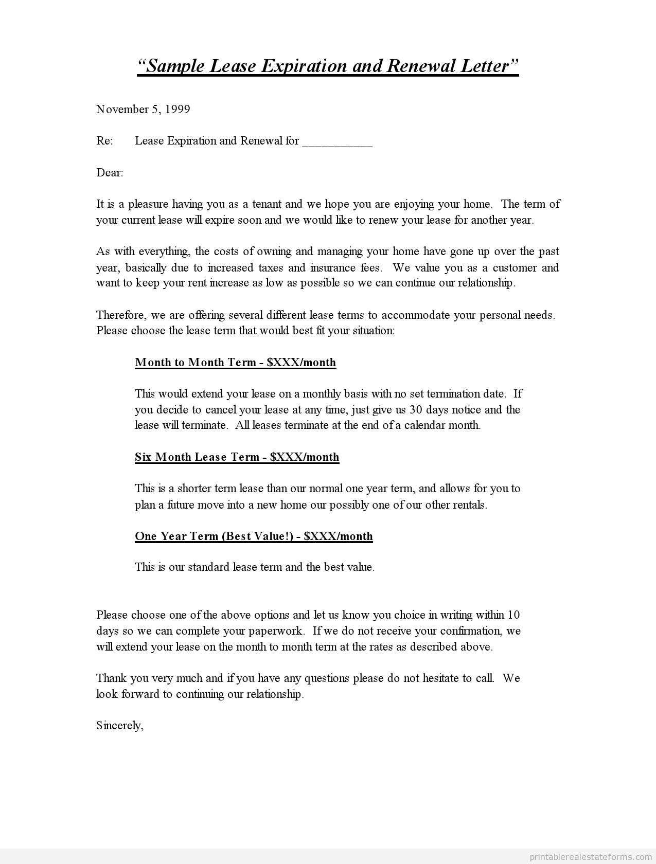Download Lease Renewal Letters