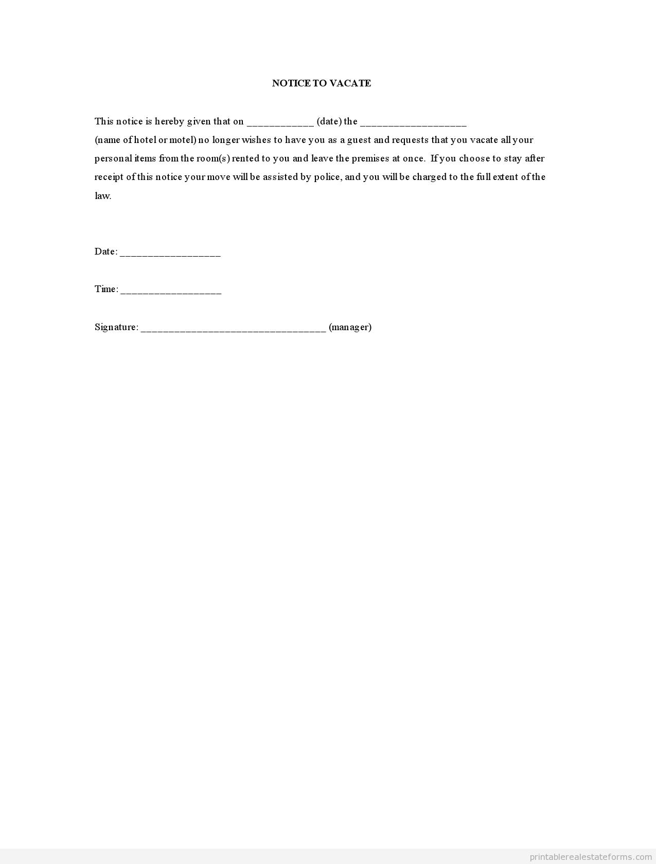 similiar printable notice to vacate form keywords